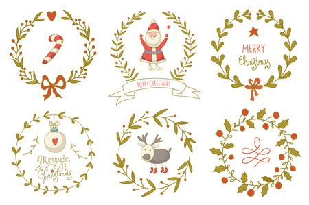 coronas de navidad: Guirnaldas de Navidad establecidos con Papá Noel y otros y elementos de decoración. EPS 10. No hay transparencia. No hay gradientes.