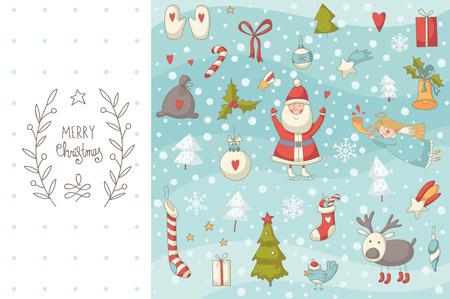 Doodle Noël définir avec le Père Noël. EPS 10. Aucune transparence. Pas de pente. Banque d'images - 33438293