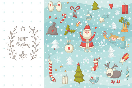 Christmas doodle set with Santa Claus. EPS 10. No transparency. No gradients.