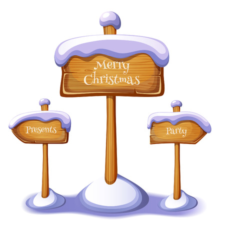 Christmas sign boards set isolated. EPS 10. Transparency. Gradients. Vector