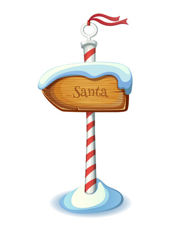 north pole sign: Christmas striped sign post. EPS 10. Transparency. Gradients.