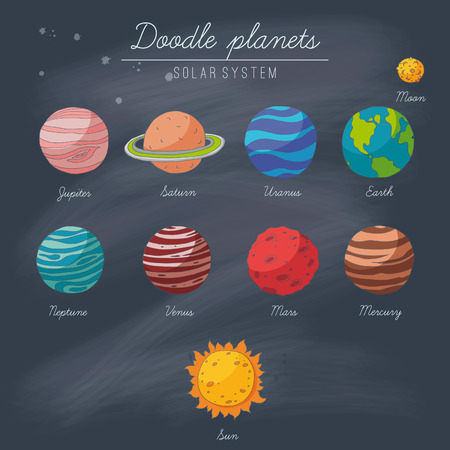 Doodle planets collection on blackboard. EPS 10. Transparency. No gradients. 向量圖像