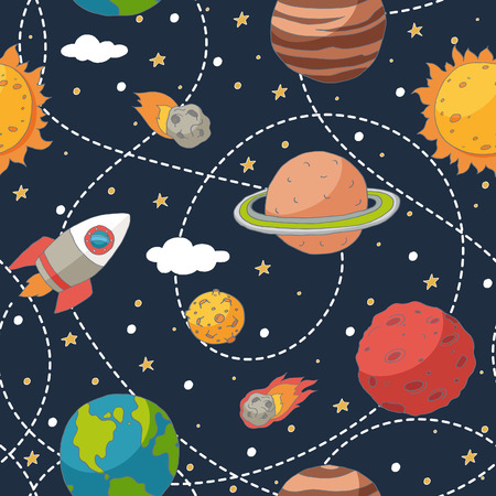 Seamless pattern with planets and the sun. EPS 10. Transparency. No gradients. 向量圖像