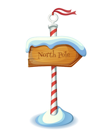 north pole: Christmas striped sign post. EPS 10. Transparency. Gradients.