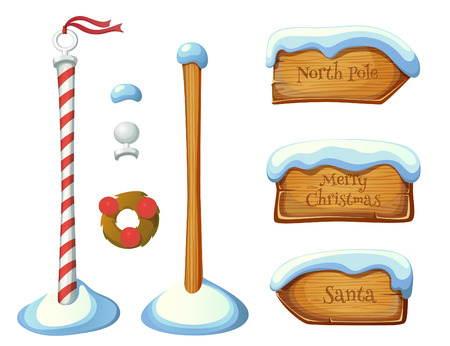 Wooden sign post elements. Christmas set. EPS 10. Transparency. Gradients. Vettoriali