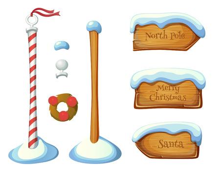 Léments signe de poteau en bois. Christmas set. EPS 10. Transparence. Dégradés. Banque d'images - 33644257