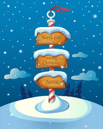 Christmas sign post with three direction boards on winter background. EPS 10. Transparency. Gradients.