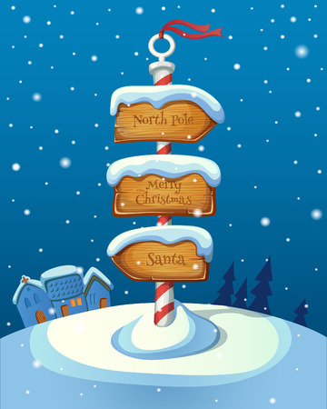 north pole sign: Christmas sign post with three direction boards on winter background. EPS 10. Transparency. Gradients.