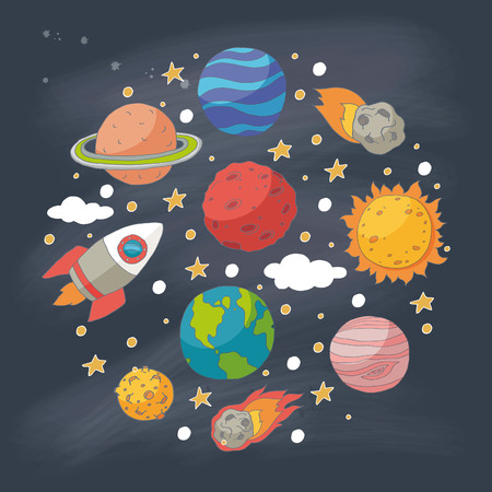 cosmo: Doodle planets and the sun on blackboard. EPS 10. Transparency. No gradients.