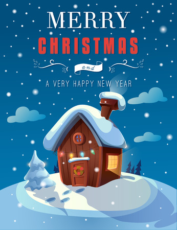 Christmas greeting card with a small cottage in the night. EPS 10. Transparency. Gradients.