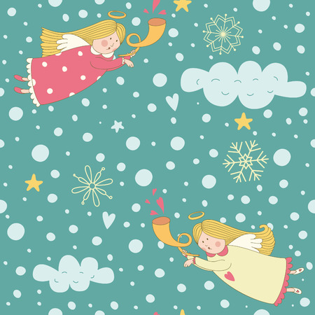 Seamless pattern with Christmas angels. Vector