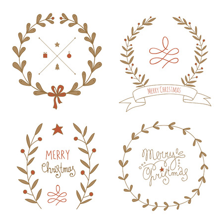 hand drawn frame: Christmas wreaths set with greeting messages. EPS 10. No transparency. No gradients. Illustration
