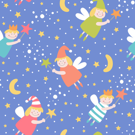 Seamless pattern with sleep fairies.  Vector