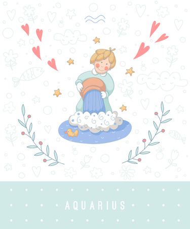 waterbearer: Cartoon illustration of the water-bearer (Aquarius). Part of the set with horoscope zodiac signs.