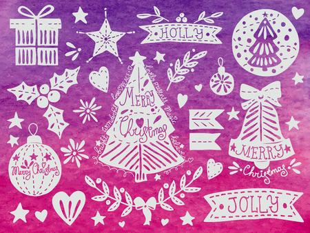 christmas watercolor: Christmas watercolor set. EPS 10. No transparency. No gradients. Illustration