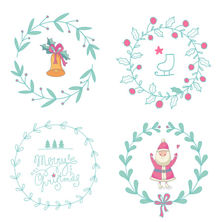 Christmas wreaths set with Santa Claus and Christmas bell.  Vector