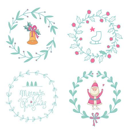 coronas navidenas: Guirnaldas de Navidad conjunto con Santa Claus y la campana de Navidad.
