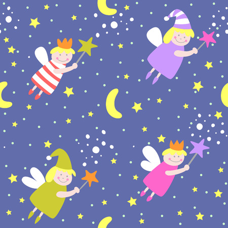 sleeping animals: Seamless pattern with sleep fairies.  Illustration