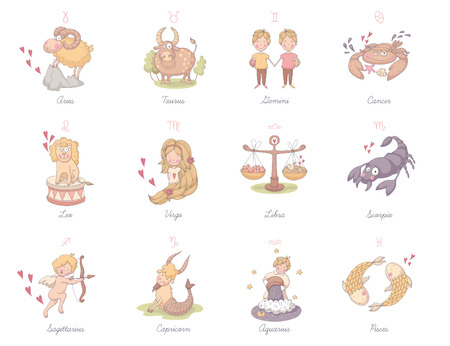 Set of very cute zodiac signs.  Vector