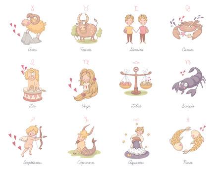 virgo zodiac sign: Set of very cute zodiac signs.