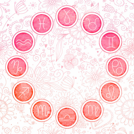 Watercolor zodiac signs set.  Illustration