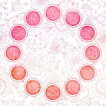 eros: Watercolor zodiac signs set.  Illustration