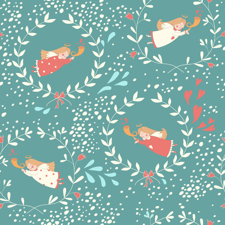christmas angels: Seamless pattern with Christmas angels.