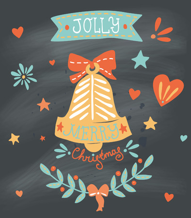 Christmas greeting card with sketchy bell and other elements on blackboard. EPS 10. No transparency. No gradients. Vector