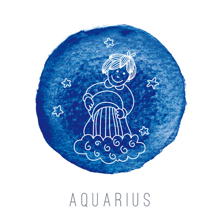 Watercolor illustration of the water-bearer (Aquarius). Part of the set with horoscope zodiac signs. EPS 10. No transparency. No gradients. Vector