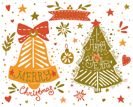 Hand drawn Christmas and New Year elements set. EPS 10. No transparency. No gradients. Vector