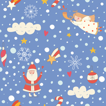 Seamless pattern with a Christmas angel and Santa Claus. EPS 10. No transparency. No gradients. Vector