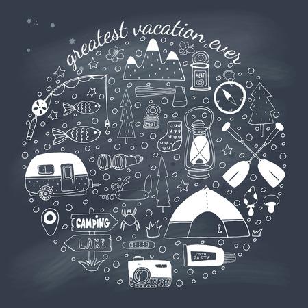 Adventure emblem on blackboard.  Vector