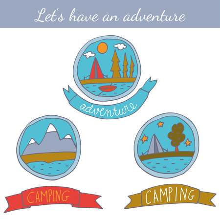 summer vacation: Set of doodle camping badges.