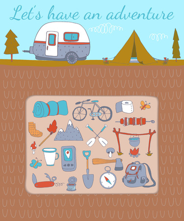 batterfly: Camping adventure set. EPS 10. No transparency. No gradients.