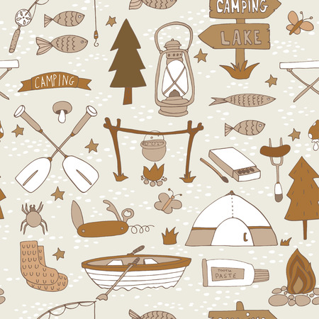 Seamless pattern with adventure equipment.  Vector