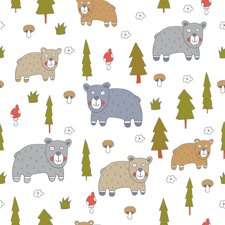 batterfly: Seamless pattern with bears.