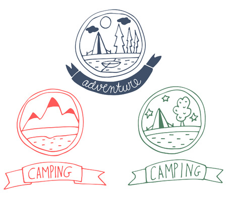 Set of doodle adventure badges.