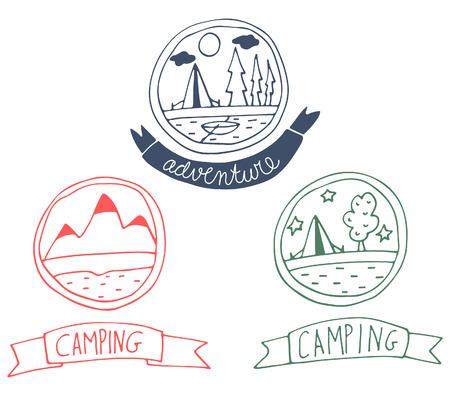 Set of doodle adventure badges. Vector