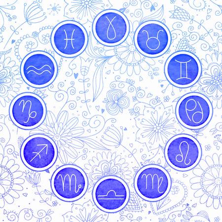 Watercolor zodiac signs set. EPS 10. No transparency. No gradients.