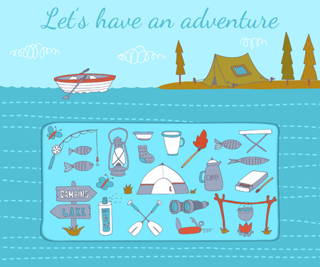 Camping adventure set. Vector