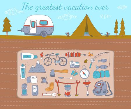 batterfly: Camping adventure set. Illustration