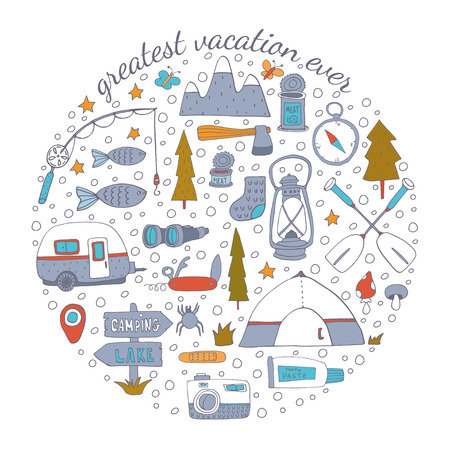 Camping adventure set. Vector