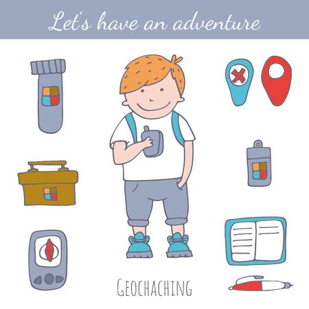 geocaching: Doodle geocaching set.