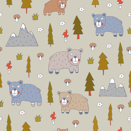 Seamless pattern with bears.