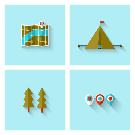 adventure holiday: Camping adventure icons set (flat design). EPS 10. Transparency. No gradients.