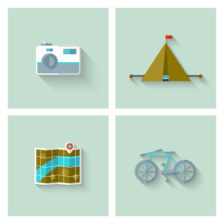 waypoint: Camping adventure icons set (flat design). EPS 10. Transparency. No gradients.