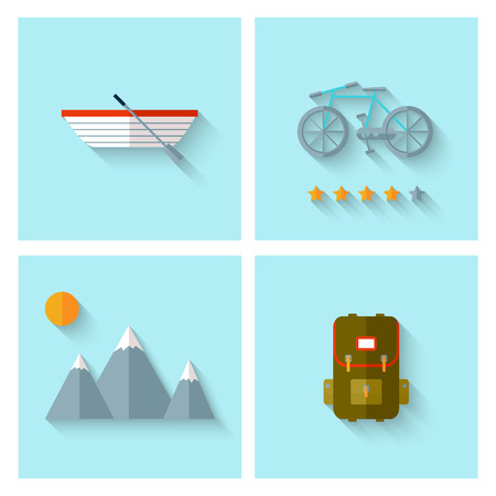 Camping adventure icons set (flat design). EPS 10. Transparency. No gradients. Vector