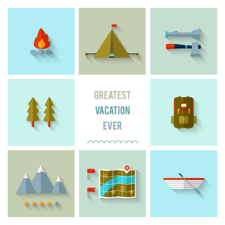 Camping icons flat design. EPS 10. Transparency. No gradients. Vector