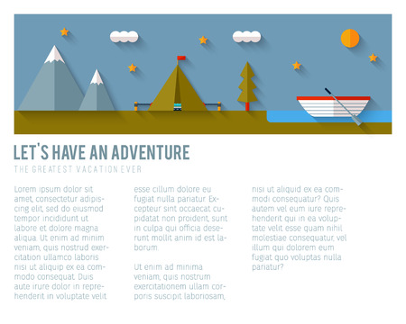 Camping flat design. EPS 10. Transparency. No gradients. Vector