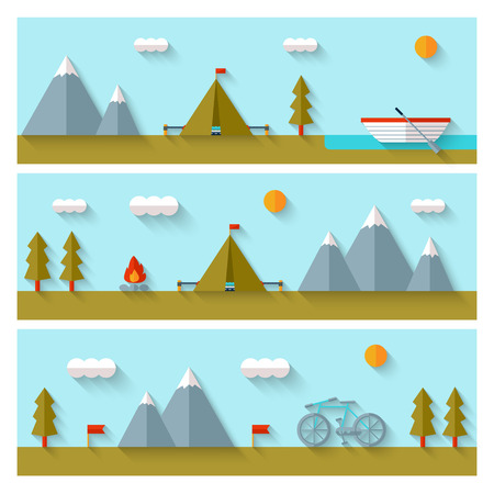 summer vacation: Camping flat design. EPS 10. Transparency. No gradients.